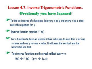 Lesson 4.7. Inverse Trigonometric Functions.