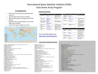 International Space Weather Initiative (ISWI) Instrument Array Program