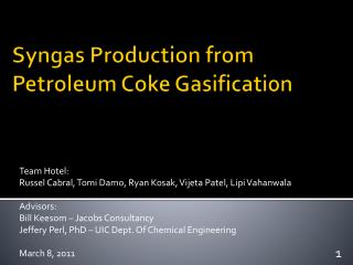 S yngas  Production from  Petroleum  C oke  G asification
