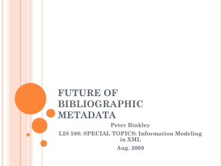 FRBR - Functional Requirements for Bibliographic Records: