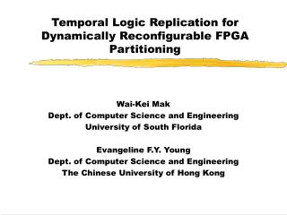 Temporal Logic Replication for Dynamically Reconfigurable FPGA Partitioning