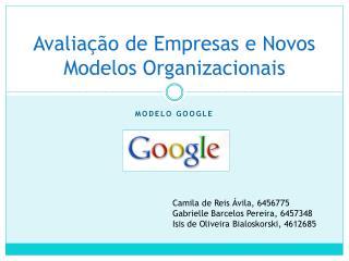 Avaliação de Empresas e Novos Modelos Organizacionais