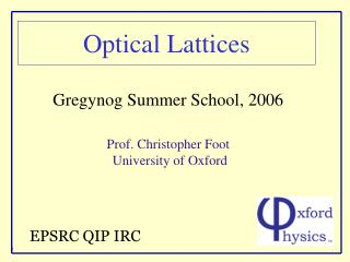 Optical Lattices