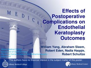 Effects of Postoperative Complications on Endothelial Keratoplasty Outcomes