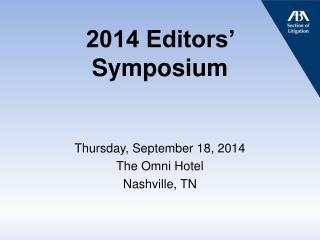 2014 Editors' Symposium