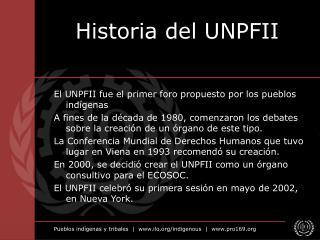 Historia del UNPFII