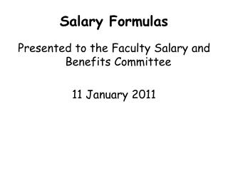 Salary Formulas