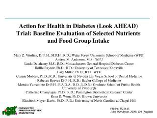 Mara Z. Vitolins, Dr.P.H., M.P.H., R.D.: Wake Forest University School of Medicine (WFU)
