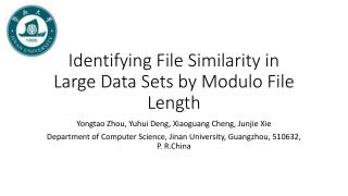 Identifying File Similarity in Large Data Sets by Modulo File Length