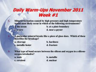 Daily Warm-Ups November 2011 Week #1