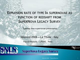 Explosion rate of type  Ia  supernovae as  function  of redshift  from SuperNova Legacy  Survey