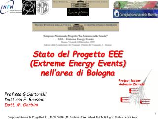 Stato del Progetto EEE  (Extreme Energy Events) nell'area di Bologna