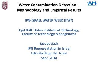 Water Contamination Detection –Methodology and Empirical Results