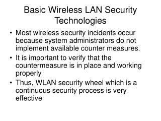 Basic Wireless LAN Security Technologies