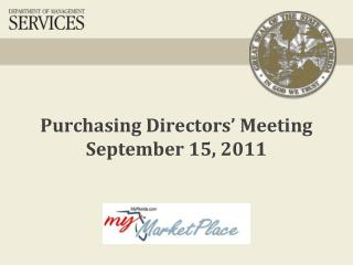 Purchasing Directors' Meeting September 15, 2011