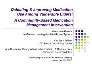 Gretchen Alkema VA Greater Los Angeles Healthcare System Kathleen Wilber