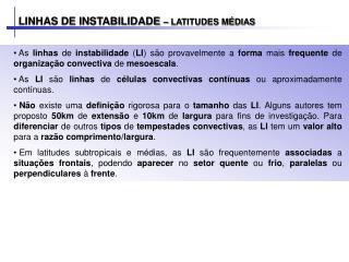 LINHAS DE INSTABILIDADE  – LATITUDES MÉDIAS