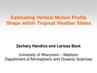 Estimating Vertical Motion Profile Shape within Tropical Weather States