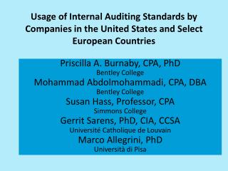 Priscilla A. Burnaby, CPA, PhD Bentley College Mohammad Abdolmohammadi, CPA, DBA Bentley College