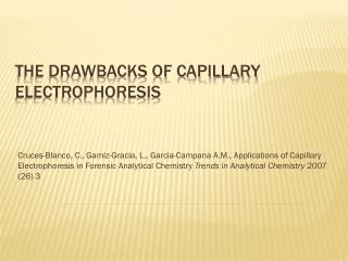 The Drawbacks of Capillary Electrophoresis