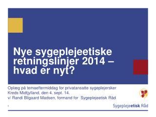 Nye sygeplejeetiske retningslinjer 2014 – hvad er nyt?