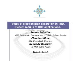 Study of electron/pion separation in TRD. Recent results of BDT applications.
