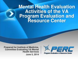 Mental Health Evaluation Activities of the VA Program Evaluation and Resource Center