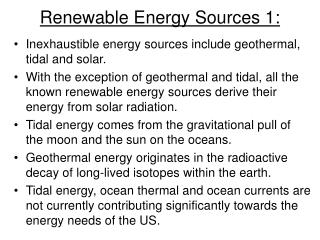 Renewable Energy Sources 1: