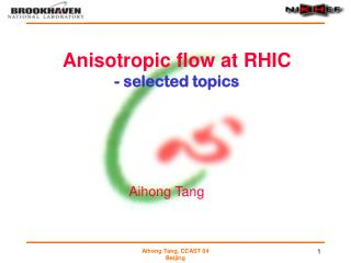 Anisotropic flow at RHIC  - selected topics