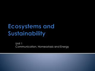 Ecosystems and Sustainability