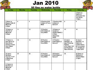 Jan 2010 $5 fine no water bottle