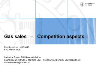 Gas sales   –   Competition aspects