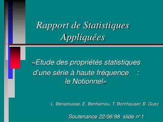 Rapport de Statistiques Appliqu es