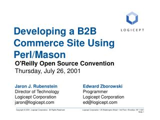 Developing a B2B Commerce Site Using Perl/Mason