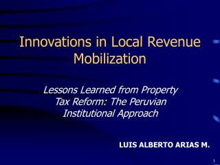 Innovations in Local Revenue Mobilization