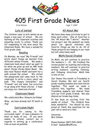 405 First Grade News First EditionSept. 7. 2007