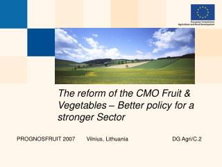 The reform of the CMO Fruit & Vegetables – Better policy for a stronger Sector