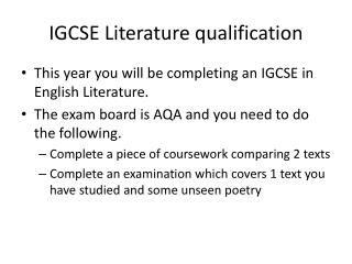 IGCSE Literature qualification