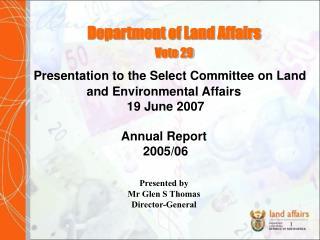 Department of Land Affairs Vote 29