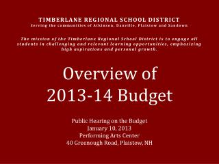 Overview of  2013-14 Budget
