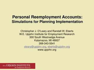 Personal Reemployment Accounts: Simulations for Planning Implementation