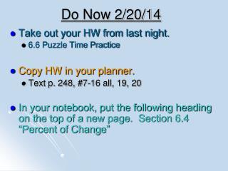 Do Now 2/20/14