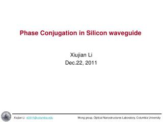 Phase Conjugation in Silicon waveguide