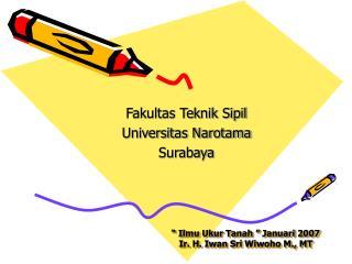""" Ilmu Ukur Tanah "" Januari 2007 Ir. H. Iwan Sri Wiwoho M., MT"