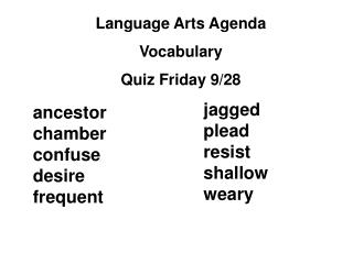 Language Arts Agenda Vocabulary Quiz Friday 9/28