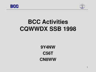 BCC Activities  CQWWDX SSB 1998