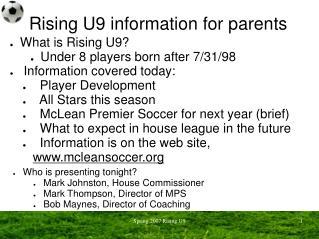 Rising U9 information for parents