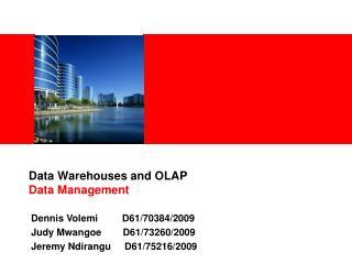Data Warehouses and OLAP Data Management