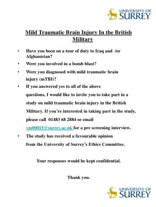 Mild Traumatic Brain Injury In the British Military