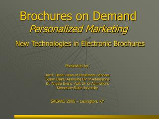 Brochures on Demand  Personalized Marketing New Technologies in Electronic Brochures